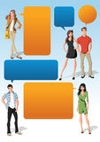 Cool fashion young people and speech balloons Royalty Free Stock Photos