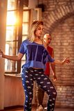 Cool female hip-hop dancer performing. Moves Stock Images
