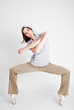 Cool female hiphop dancer. And breakdancer standing on toptoes stock images
