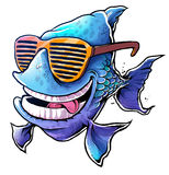 Cool Fish. With yellow sunglasses Royalty Free Stock Photos