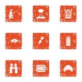 Cool fishing icons set, grunge style. Cool fishing icons set. Grunge set of 9 cool fishing vector icons for web isolated on white background Stock Image
