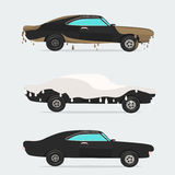 Cool  flat illustration on dirty and clean car.  wash stages process from  to . Royalty Free Stock Photo