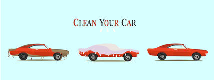 Cool  flat illustration on dirty and clean car.  wash stages process Royalty Free Stock Images