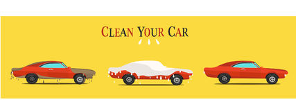 Cool  flat illustration on dirty and clean car.  wash stages process  Stock Photography