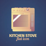Cool flat kitchen stove illustration. Cool flat kitchen stove icon for web or print Stock Photos