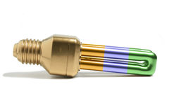 Cool fluorescent light bulb. Photo of bright coloured fluorescent (economical) light bulb Stock Photography