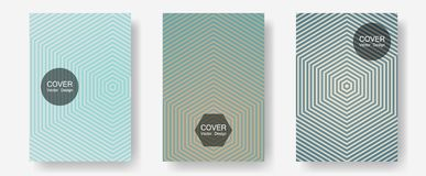 Cool flyers set, vector halftone poster backgrounds. Futuristic style. Halftone lines annual report templates. Balanced posh mockups. Geometric lines shapes vector illustration