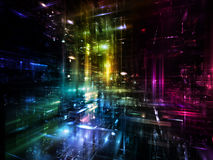 Cool Fractal Dimensions. Fractal City series. Composition of three dimensional fractal structures and lights with metaphorical relationship to technology Stock Photography