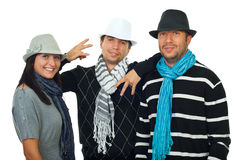 Cool friends with hats royalty free stock photo