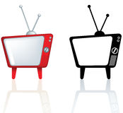 Cool funky design for a retro vintage style tv. Illustration of a red design for a television with rounded edges Stock Photography
