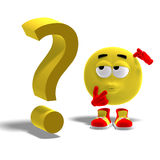Cool and funny emoticon has a question mark. 3D rendering of a cool and funny emoticon with a question mark with clipping path and shadow over white Stock Photos