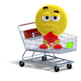 Cool and funny emoticon sitting in a shopping Stock Image