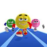 Cool and funny emoticons make a race. 3D rendering of cool and funny emoticons making a race with clipping path and shadow over white Royalty Free Stock Photography