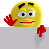 Cool and funny yellow emoticon says look here Royalty Free Stock Photo