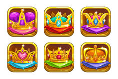 Cool game icons with golden rare crowns Stock Image