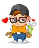 Cool Geek Mascot Cartoon Vector Illustration Falling in Love Royalty Free Stock Photography