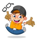 Cool Geek Mascot Cartoon Vector Illustration with Happy Face Stock Photography