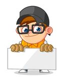 Cool Geek Mascot Cartoon Vector Illustration Holding a Banner Stock Images