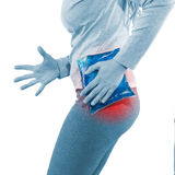 Cool gel pack on a swollen hurting hip. Royalty Free Stock Photos