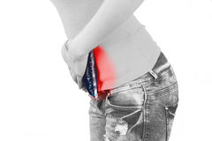 Cool gel pack on a swollen hurting stomach. Royalty Free Stock Photo