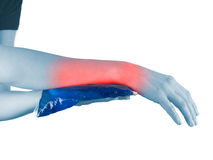 Cool gel pack on a swollen hurting wrist. Stock Photography
