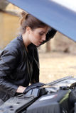 Cool girl by the car Stock Photo