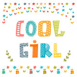 Cool girl card. Cute greeting card Stock Photography