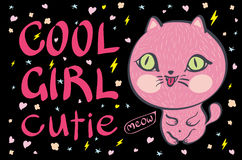 Cool girl cutie little pink cat vector illustration Stock Photography