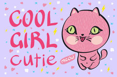 Cool girl cutie little pink cat vector illustration Stock Images