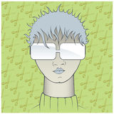 Cool girl face. In  cartoon style Stock Photography
