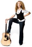 Cool Girl and Guitar Stock Image