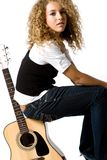 Cool Girl and Guitar Royalty Free Stock Images