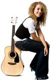 Cool Girl and Guitar Royalty Free Stock Image