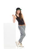 Cool girl lean on the white box Stock Photo
