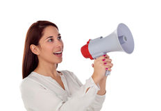 Cool girl speaking through a megaphone Stock Photography
