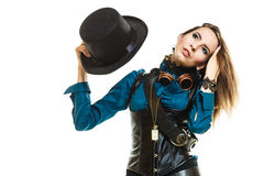 Cool girl in steampunk style. Royalty Free Stock Images