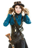Cool girl in steampunk style. Royalty Free Stock Image