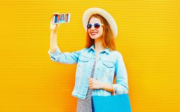 Cool girl takes a picture self portrait on the smartphone Royalty Free Stock Photos