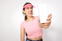 Cool girl taking selfie with cell phone Royalty Free Stock Photos