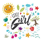 Cool girl to print T-shirts. Royalty Free Stock Photo