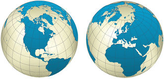 Cool globe. 2 sides. Blue and yellow Stock Illustration