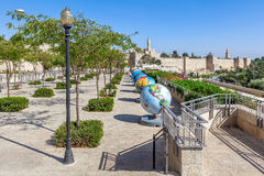 Cool Globes exibition in Old City of Jerusalem. Stock Photography