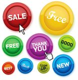 Cool glossy buttons for your business website. Vector illustration Royalty Free Stock Photos