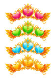 Cool golden banners with colorful crystal hearts Stock Images