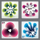 Cool gradient shapes, futuristic designs set. 3d flower shape, v. Cool gradient shapes, futuristic designs set. 3d flower shape,  abstract art. Perfect for gift Royalty Free Stock Image