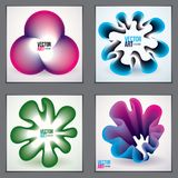 Cool gradient shapes, futuristic designs set. 3d flower shape, v. Ector abstract art. Perfect for gift card,cover,poster or brochure. Bright color wave Stock Image