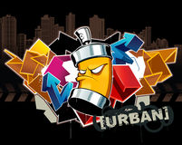 Cool graffiti. Image with can Royalty Free Stock Images