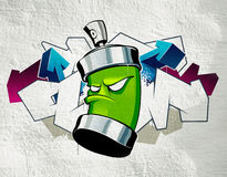 Cool graffiti. Image with can on the wall Royalty Free Stock Images