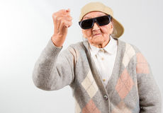 Cool grandma fights for her right Royalty Free Stock Photography