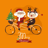 Cool grandma with grandpa as santa claus and reindeer riding a bicycle tandem Royalty Free Stock Image